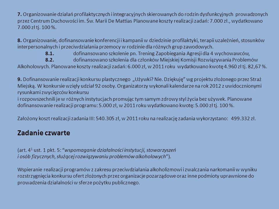 7. Organizowanie działań profilaktycznych i integracyjnych skierowanych do rodzin dysfunkcyjnych prowadzonych przez Centrum Duchowości im. Św. Marii D