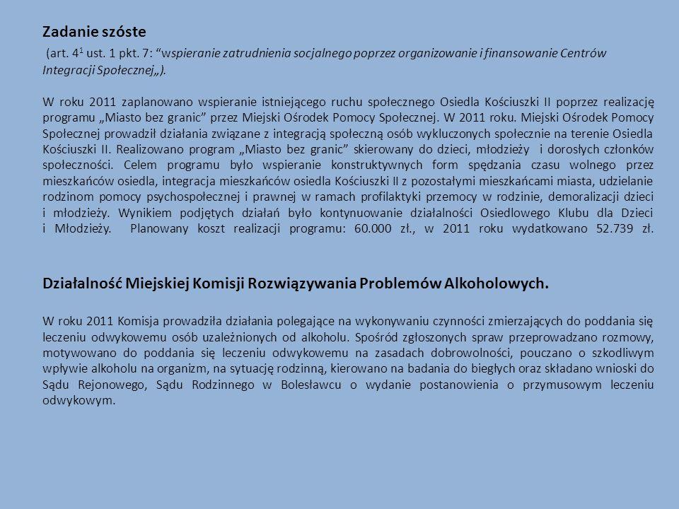 Zadanie szóste (art. 4 1 ust. 1 pkt. 7: wspieranie zatrudnienia socjalnego poprzez organizowanie i finansowanie Centrów Integracji Społecznej). W roku