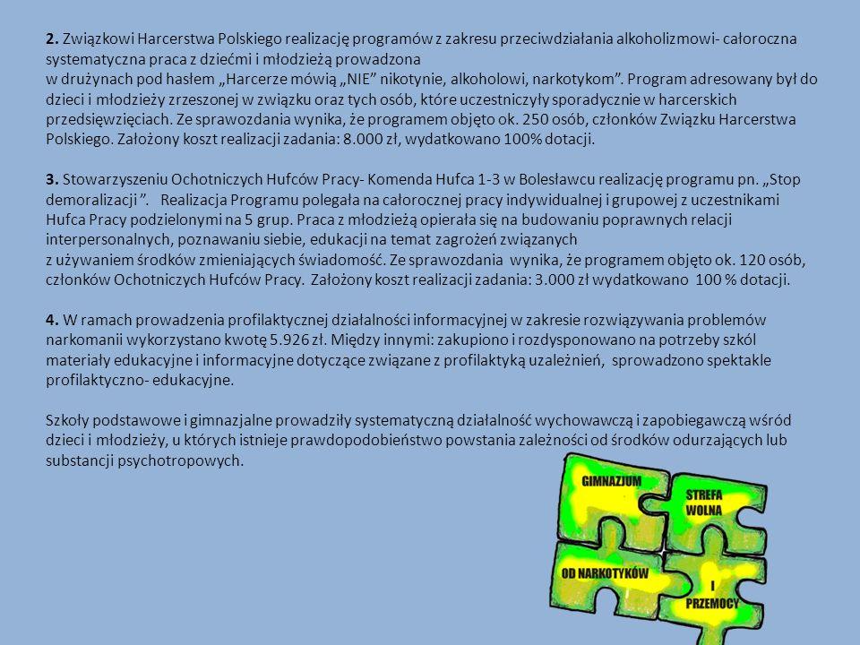 2. Związkowi Harcerstwa Polskiego realizację programów z zakresu przeciwdziałania alkoholizmowi- całoroczna systematyczna praca z dziećmi i młodzieżą