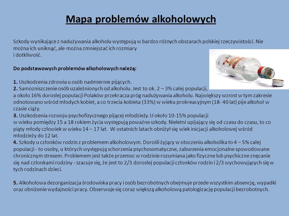 Mapa problemów alkoholowych Szkody wynikające z nadużywania alkoholu występują w bardzo różnych obszarach polskiej rzeczywistości. Nie można ich unikn