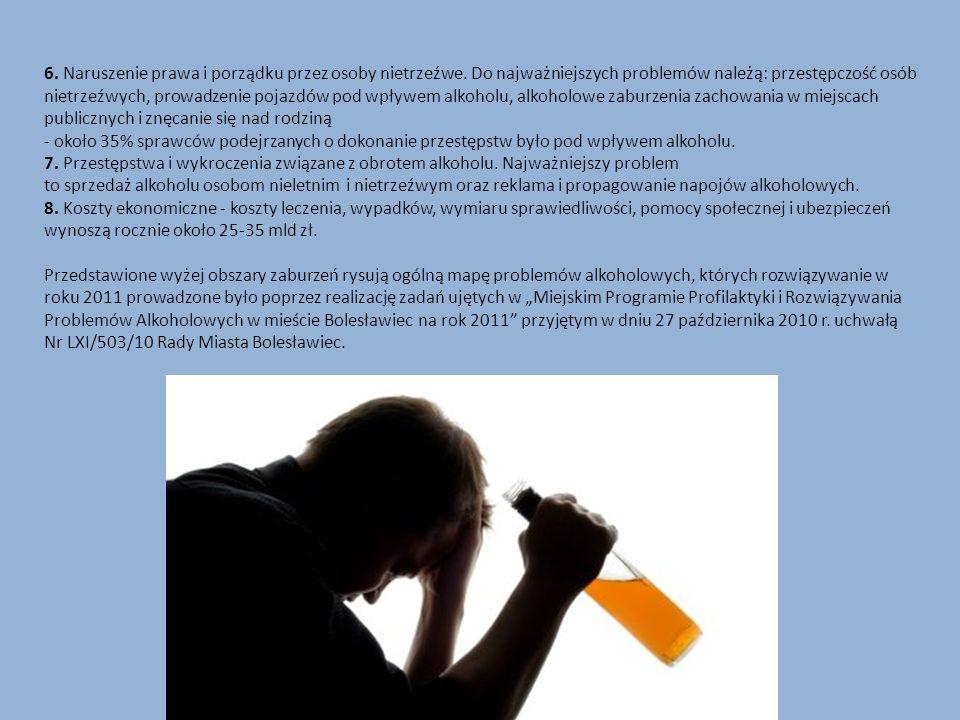 6. Naruszenie prawa i porządku przez osoby nietrzeźwe. Do najważniejszych problemów należą: przestępczość osób nietrzeźwych, prowadzenie pojazdów pod
