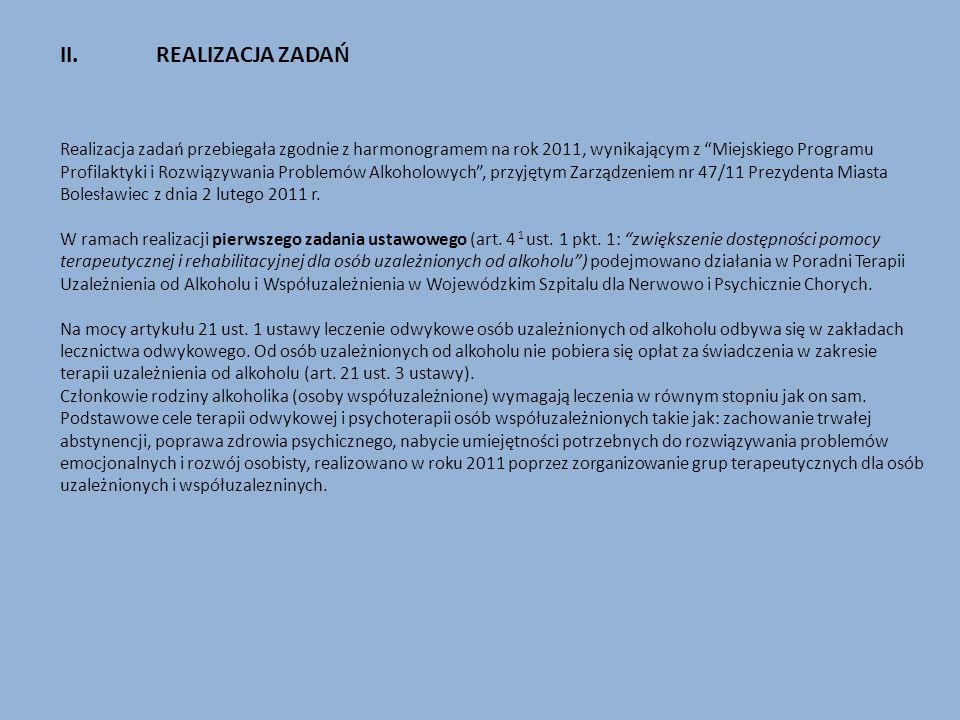 II.REALIZACJA ZADAŃ Realizacja zadań przebiegała zgodnie z harmonogramem na rok 2011, wynikającym z Miejskiego Programu Profilaktyki i Rozwiązywania P