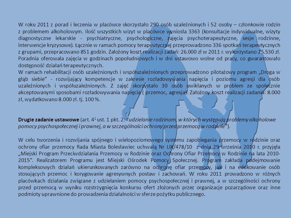 W roku 2011 z porad i leczenia w placówce skorzystało 290 osób uzależnionych i 52 osoby – członkowie rodzin z problemem alkoholowym. Ilość wszystkich