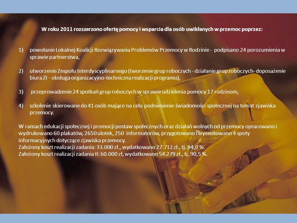 W roku 2011 rozszerzono ofertę pomocy i wsparcia dla osób uwikłanych w przemoc poprzez: 1)powołanie Lokalnej Koalicji Rozwiązywania Problemów Przemocy