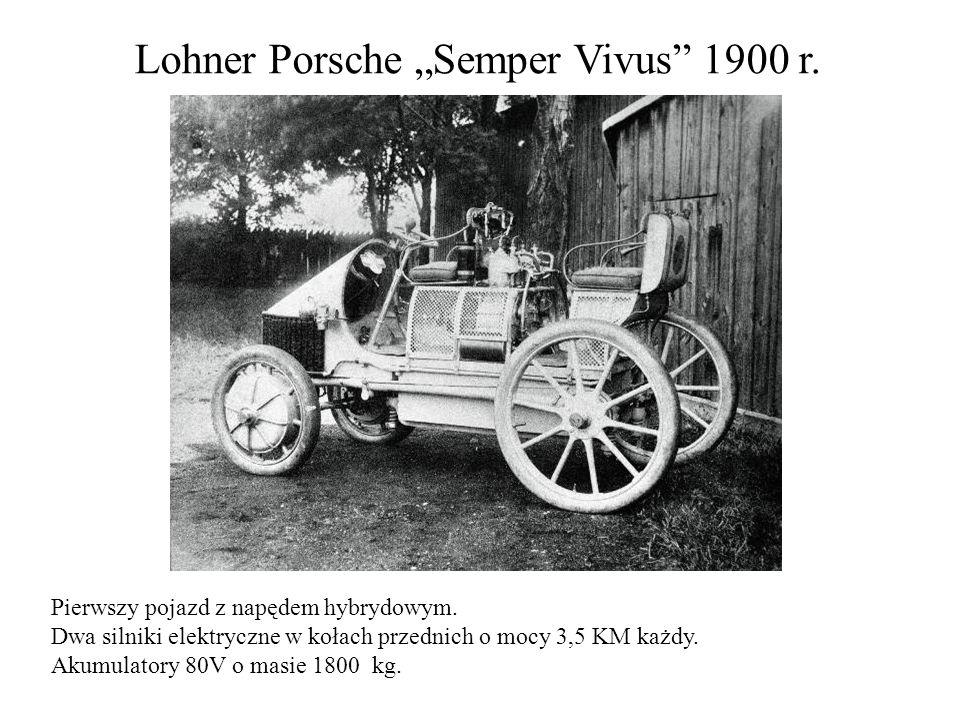 Lohner Porsche Semper Vivus 1900 r. Pierwszy pojazd z napędem hybrydowym. Dwa silniki elektryczne w kołach przednich o mocy 3,5 KM każdy. Akumulatory