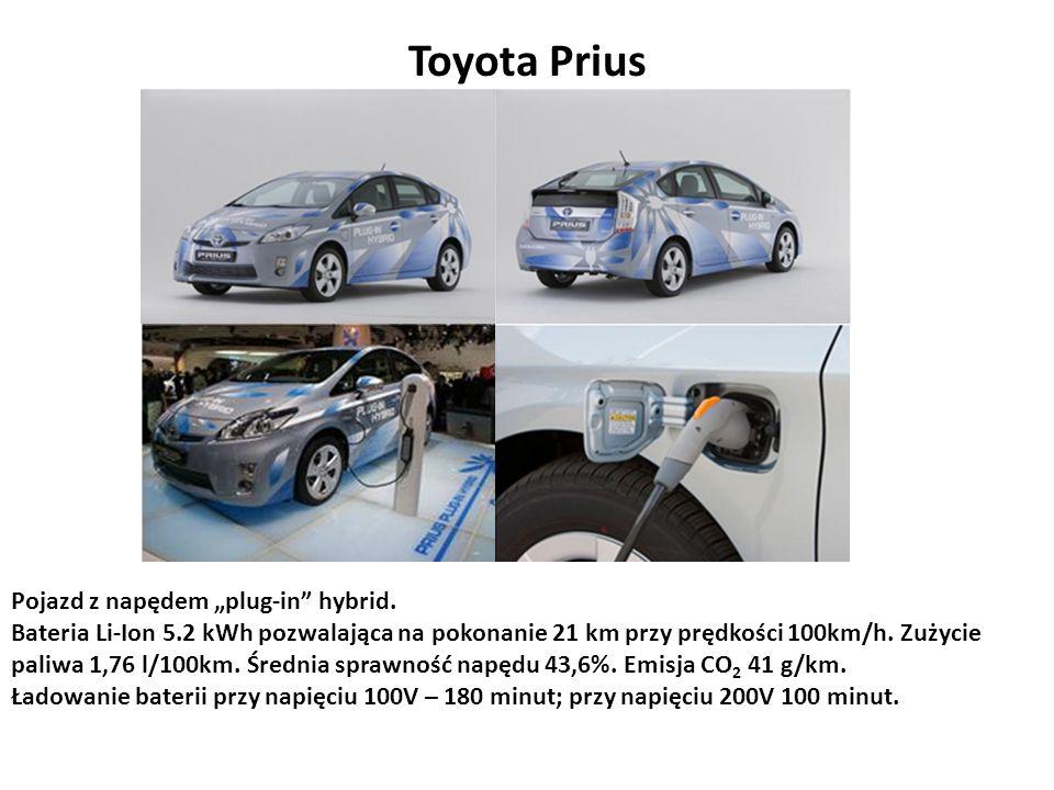 Toyota Prius Pojazd z napędem plug-in hybrid. Bateria Li-Ion 5.2 kWh pozwalająca na pokonanie 21 km przy prędkości 100km/h. Zużycie paliwa 1,76 l/100k