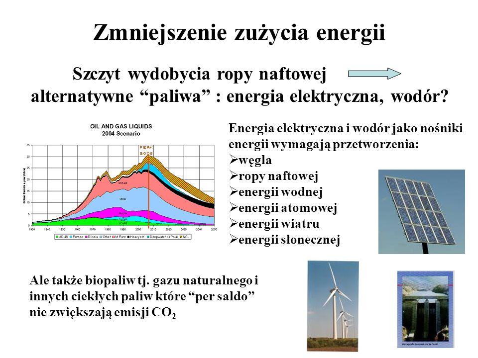 Zmniejszenie zużycia energii Energia elektryczna i wodór jako nośniki energii wymagają przetworzenia: węgla ropy naftowej energii wodnej energii atomo