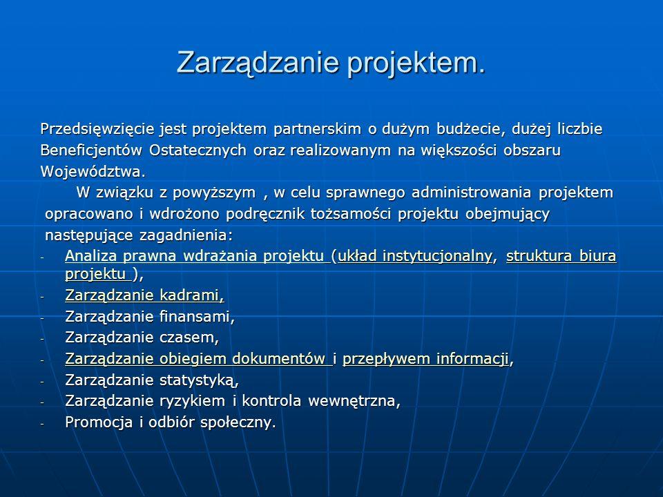 Zarządzanie projektem. Przedsięwzięcie jest projektem partnerskim o dużym budżecie, dużej liczbie Beneficjentów Ostatecznych oraz realizowanym na więk