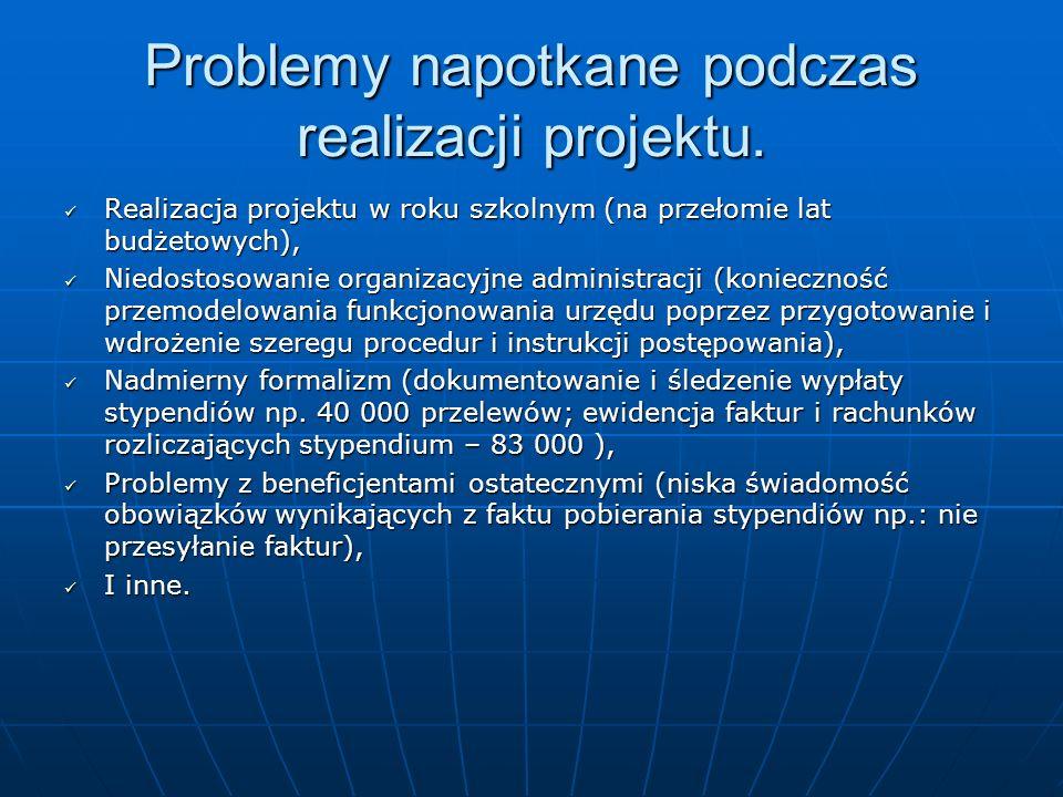 Problemy napotkane podczas realizacji projektu. Realizacja projektu w roku szkolnym (na przełomie lat budżetowych), Realizacja projektu w roku szkolny