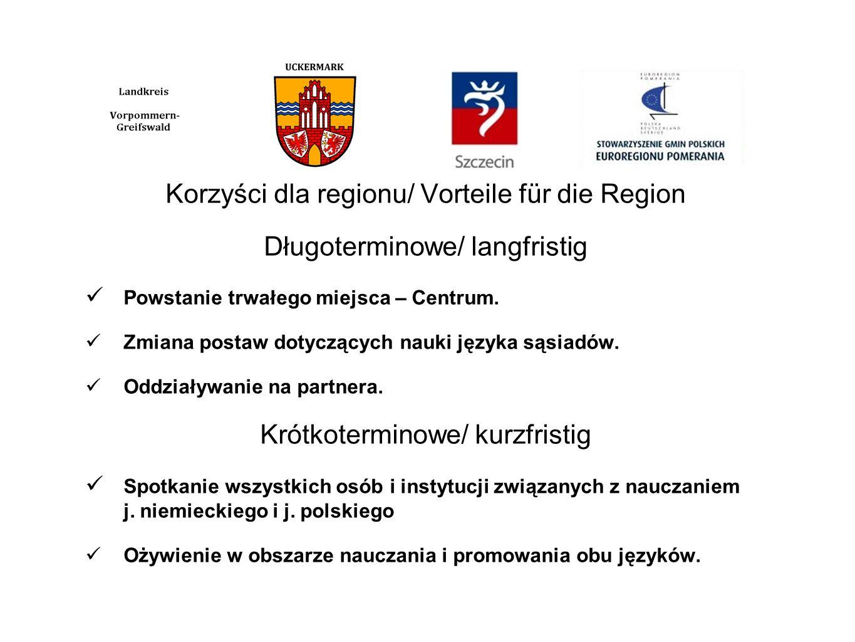 Korzyści dla regionu/ Vorteile für die Region Długoterminowe/ langfristig Powstanie trwałego miejsca – Centrum. Zmiana postaw dotyczących nauki języka