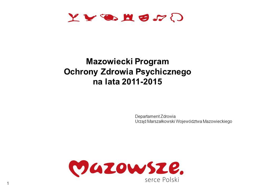 1 Mazowiecki Program Ochrony Zdrowia Psychicznego na lata 2011-2015 Departament Zdrowia Urząd Marszałkowski Województwa Mazowieckiego