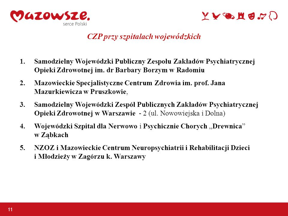 CZP przy szpitalach wojewódzkich 11 1.Samodzielny Wojewódzki Publiczny Zespołu Zakładów Psychiatrycznej Opieki Zdrowotnej im. dr Barbary Borzym w Rado
