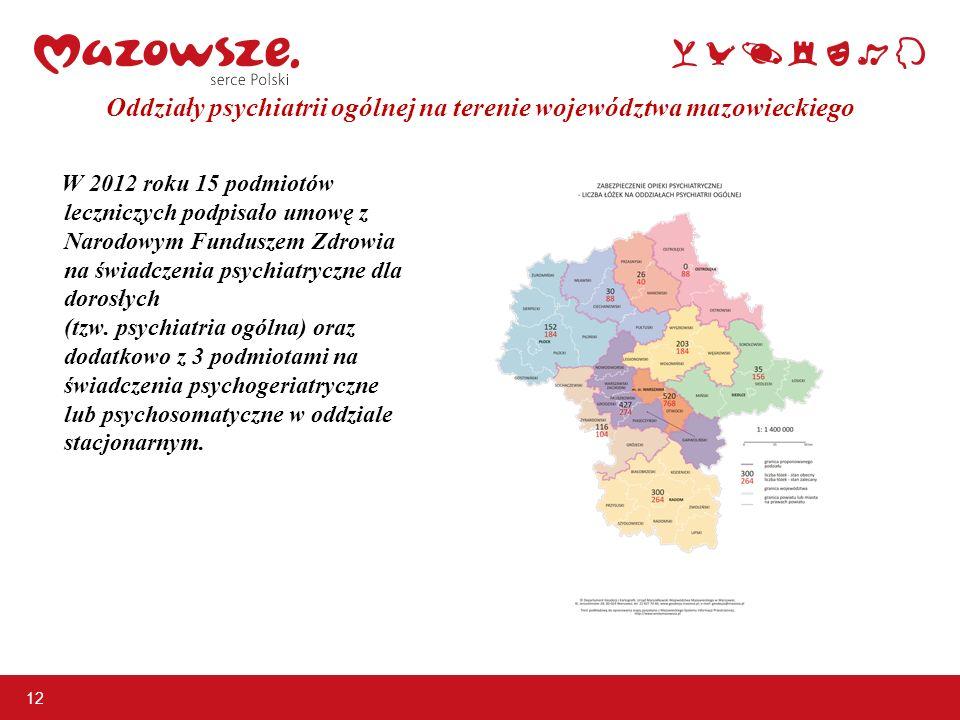 12 Oddziały psychiatrii ogólnej na terenie województwa mazowieckiego W 2012 roku 15 podmiotów leczniczych podpisało umowę z Narodowym Funduszem Zdrowi