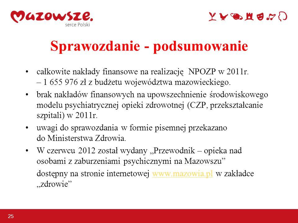 25 Sprawozdanie - podsumowanie całkowite nakłady finansowe na realizację NPOZP w 2011r. – 1 655 976 zł z budżetu województwa mazowieckiego. brak nakła