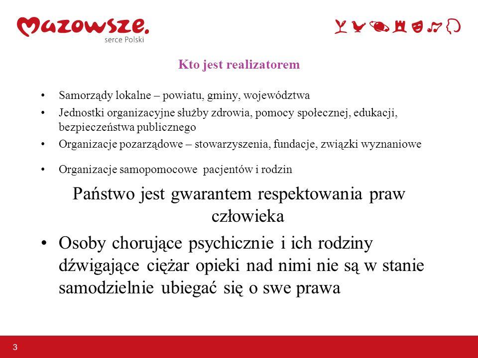3 Kto jest realizatorem Samorządy lokalne – powiatu, gminy, województwa Jednostki organizacyjne służby zdrowia, pomocy społecznej, edukacji, bezpiecze