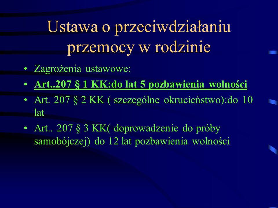 Ustawa o przeciwdziałaniu przemocy w rodzinie Zagrożenia ustawowe: Art..207 § 1 KK:do lat 5 pozbawienia wolności Art. 207 § 2 KK ( szczególne okrucień
