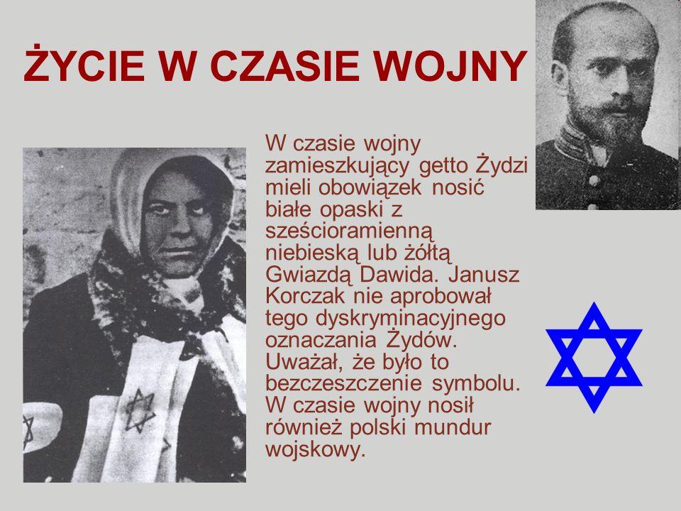 ŻYCIE W CZASIE WOJNY W czasie wojny zamieszkujący getto Żydzi mieli obowiązek nosić białe opaski z sześcioramienną niebieską lub żółtą Gwiazdą Dawida.