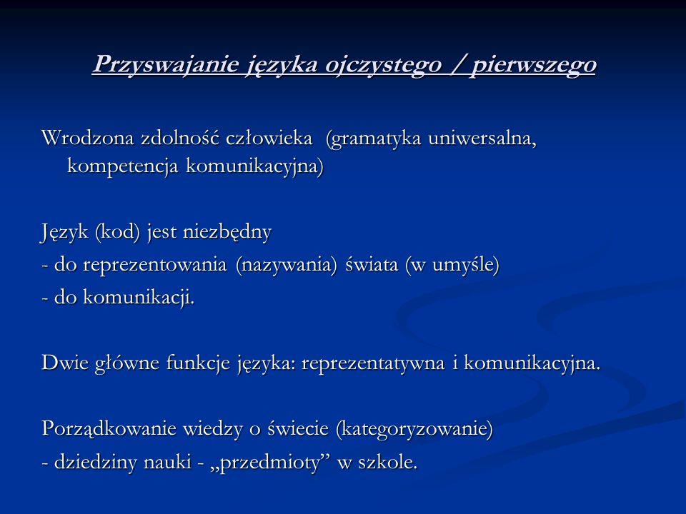 Przyswajanie języka ojczystego / pierwszego Wrodzona zdolność człowieka (gramatyka uniwersalna, kompetencja komunikacyjna) Język (kod) jest niezbędny