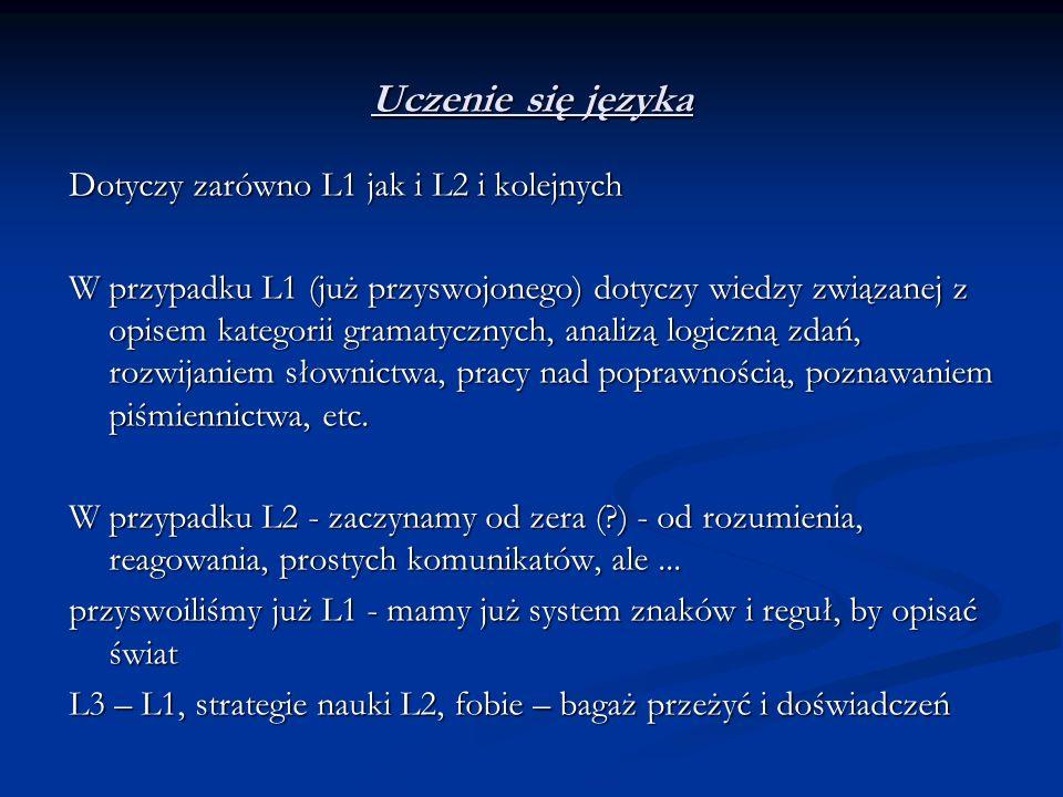 Uczenie się języka Dotyczy zarówno L1 jak i L2 i kolejnych W przypadku L1 (już przyswojonego) dotyczy wiedzy związanej z opisem kategorii gramatycznyc