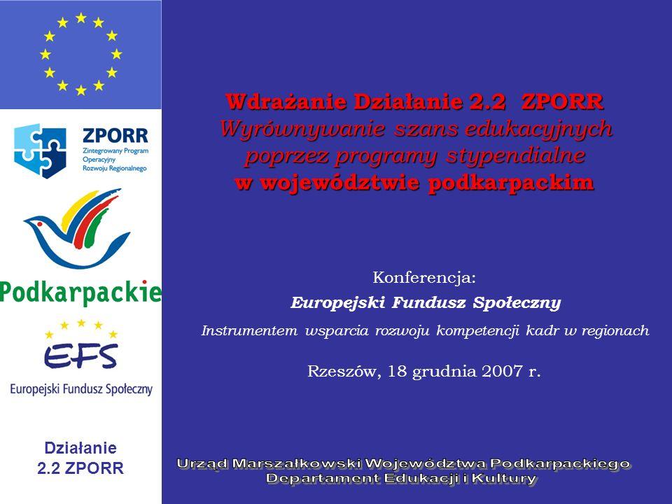 Działanie 2.2 ZPORR Wdrażanie Działanie 2.2 ZPORR Wyrównywanie szans edukacyjnych poprzez programy stypendialne w województwie podkarpackim Konferencj