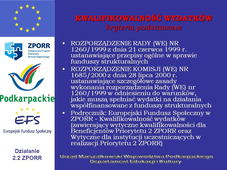 Działanie 2.2 ZPORR KWALIFIKOWALNOŚĆ WYDATKÓW kryteria podstawowe ROZPORZĄDZENIE RADY (WE) NR 1260/1999 z dnia 21 czerwca 1999 r. ustanawiające przepi