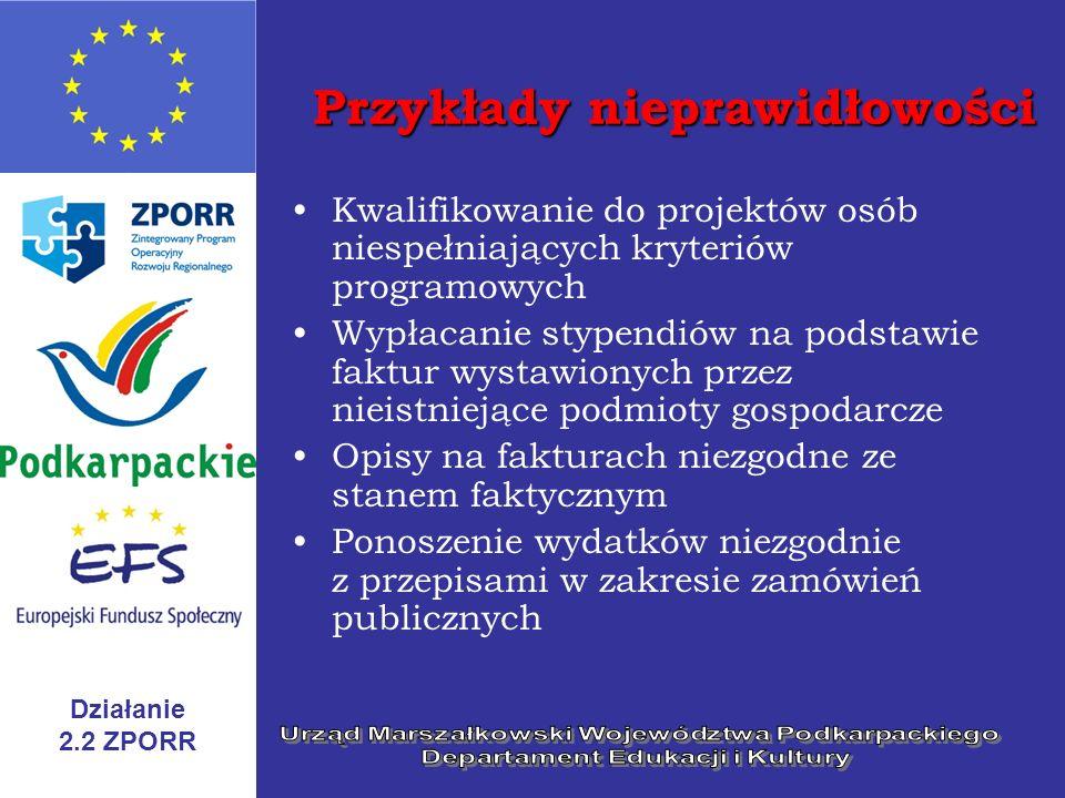 Działanie 2.2 ZPORR Przykłady nieprawidłowości Kwalifikowanie do projektów osób niespełniających kryteriów programowych Wypłacanie stypendiów na podst