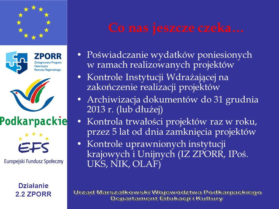 Działanie 2.2 ZPORR Co nas jeszcze czeka… Poświadczanie wydatków poniesionych w ramach realizowanych projektów Kontrole Instytucji Wdrażającej na zako