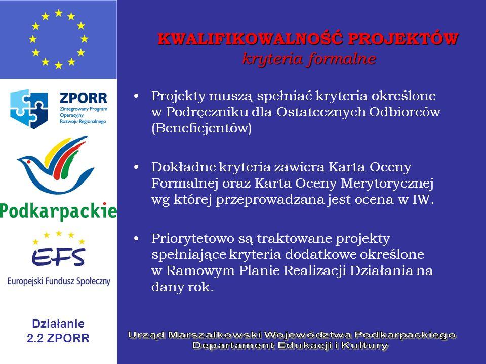 Działanie 2.2 ZPORR KWALIFIKOWALNOŚĆ PROJEKTÓW kryteria merytoryczne I typ projektów – stypendia dla uczniów Przedmiotem projektów jest wyplata stypendiów dla uczniów szkół ponadgimnazjalnych kończących się maturą* II typ projektów – stypendia dla studentów Przedmiotem projektów jest wyplata stypendiów dla studentów uczelni działających na podstawie polskich przepisów o szkolnictwie wyższym * z wyłączeniem szkół dla dorosłych