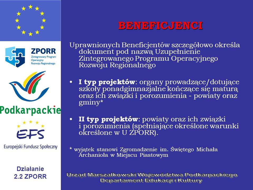 Działanie 2.2 ZPORR BENEFICJENCI Uprawnionych Beneficjentów szczegółowo określa dokument pod nazwą Uzupełnienie Zintegrowanego Programu Operacyjnego R