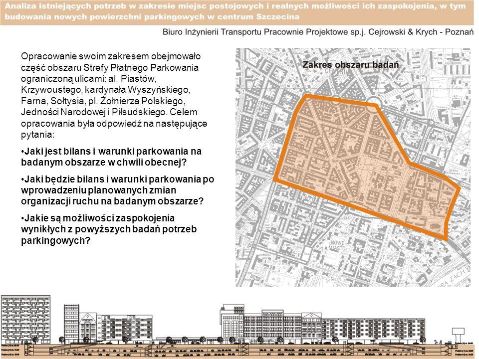 Opracowanie swoim zakresem obejmowało część obszaru Strefy Płatnego Parkowania ograniczoną ulicami: al. Piastów, Krzywoustego, kardynała Wyszyńskiego,
