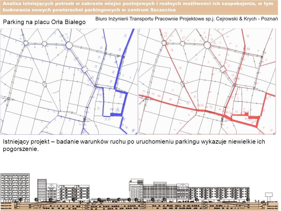 Parking na placu Orła Białego Istniejący projekt – badanie warunków ruchu po uruchomieniu parkingu wykazuje niewielkie ich pogorszenie.