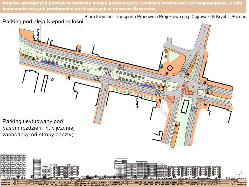 Parking pod aleją Niepodległości Parking usytuowany pod pasem rozdziału i/lub jezdnią zachodnią (od strony poczty)