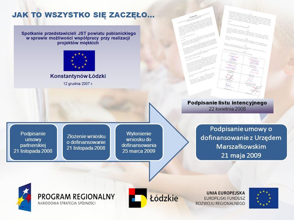 JAK TO WSZYSTKO SIĘ ZACZĘŁO… Podpisanie listu intencyjnego 22 kwietnia 2008 Podpisanie umowy o dofinansowanie z Urzędem Marszałkowskim 21 maja 2009 Po