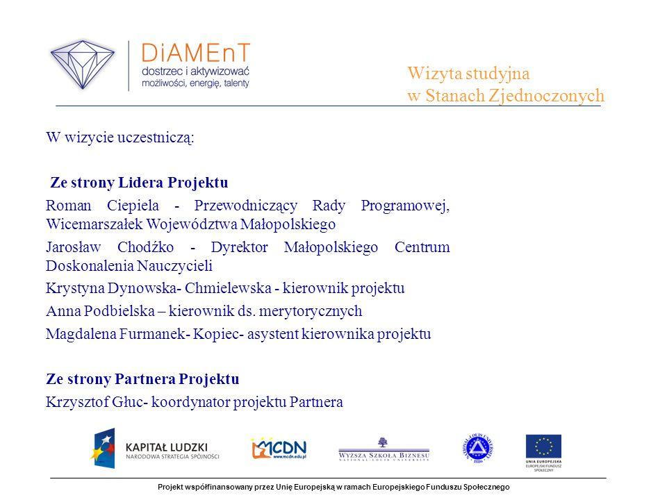 Projekt współfinansowany przez Unię Europejską w ramach Europejskiego Funduszu Społecznego W wizycie uczestniczą: Ze strony Lidera Projektu Roman Ciep