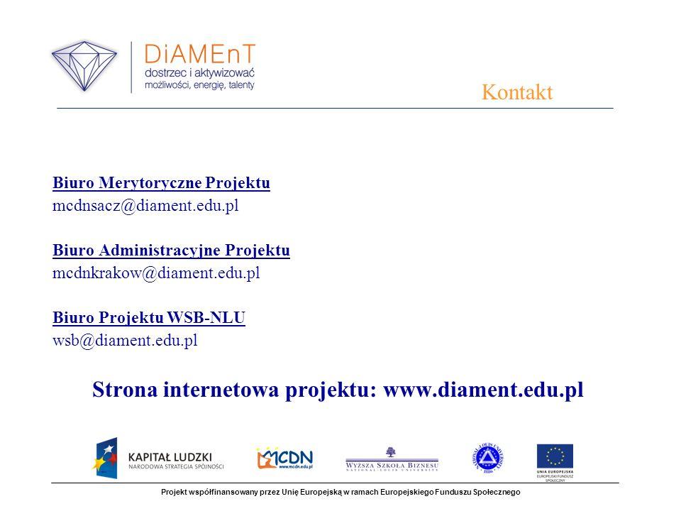 Biuro Merytoryczne Projektu mcdnsacz@diament.edu.pl Biuro Administracyjne Projektu mcdnkrakow@diament.edu.pl Biuro Projektu WSB-NLU wsb@diament.edu.pl