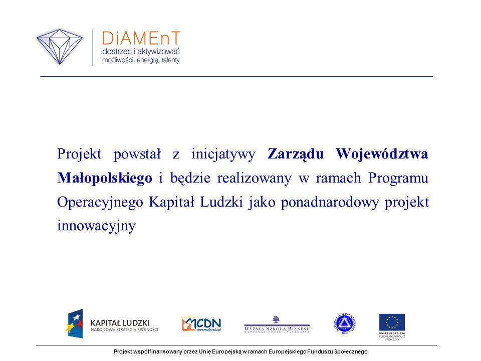Zadania projektu Projekt współfinansowany przez Unię Europejską w ramach Europejskiego Funduszu Społecznego 1.