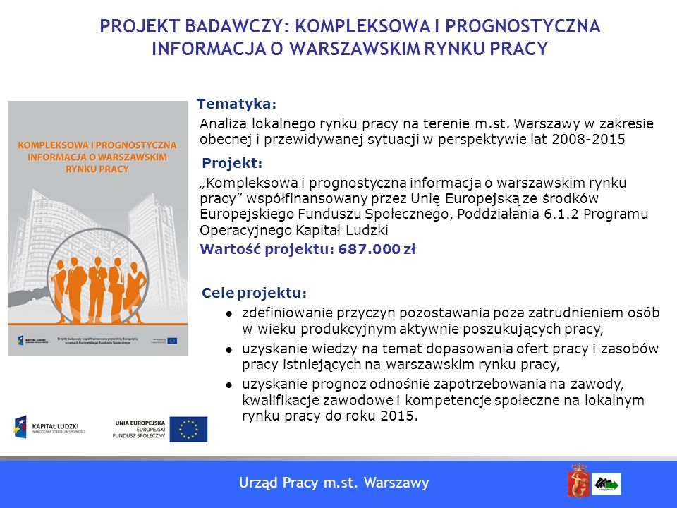 Urząd Pracy m.st. Warszawy PROJEKT BADAWCZY: KOMPLEKSOWA I PROGNOSTYCZNA INFORMACJA O WARSZAWSKIM RYNKU PRACY Tematyka: Analiza lokalnego rynku pracy