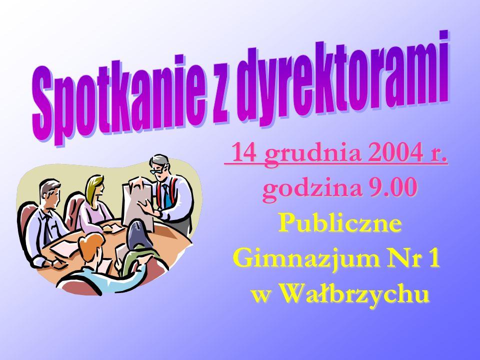 14 grudnia 2004 r. godzina 9.00 Publiczne Gimnazjum Nr 1 w Wałbrzychu 14 grudnia 2004 r. godzina 9.00 Publiczne Gimnazjum Nr 1 w Wałbrzychu
