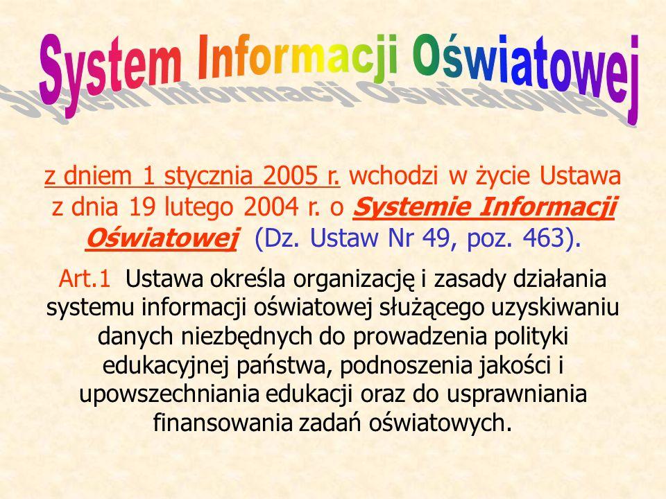 z dniem 1 stycznia 2005 r. wchodzi w życie Ustawa z dnia 19 lutego 2004 r. o Systemie Informacji Oświatowej (Dz. Ustaw Nr 49, poz. 463). Art.1 Ustawa