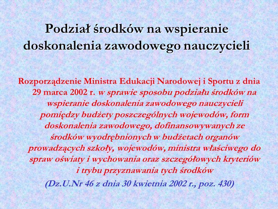 Rozporządzenie Ministra Edukacji Narodowej i Sportu z dnia 29 marca 2002 r. w sprawie sposobu podziału środków na wspieranie doskonalenia zawodowego n
