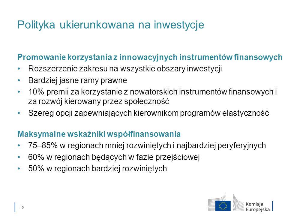 10 Polityka ukierunkowana na inwestycje Promowanie korzystania z innowacyjnych instrumentów finansowych Rozszerzenie zakresu na wszystkie obszary inwe
