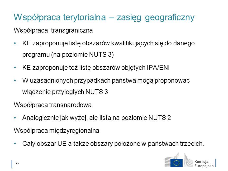 17 Współpraca terytorialna – zasięg geograficzny Współpraca transgraniczna KE zaproponuje listę obszarów kwalifikujących się do danego programu (na po