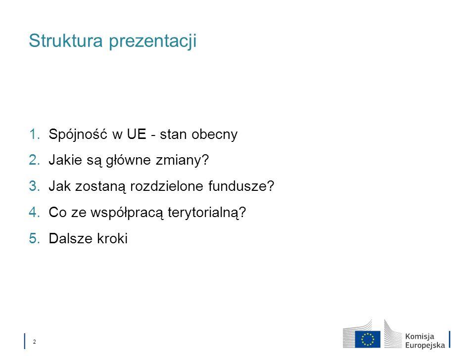 2 Struktura prezentacji 1.Spójność w UE - stan obecny 2.Jakie są główne zmiany? 3.Jak zostaną rozdzielone fundusze? 4.Co ze współpracą terytorialną? 5