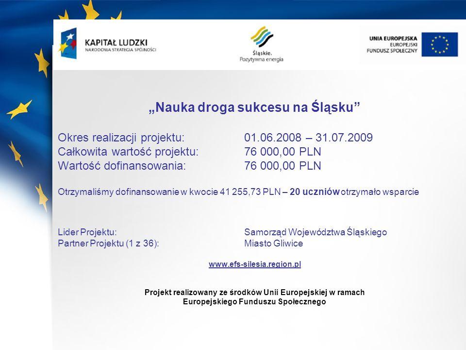 Nauka droga sukcesu na Śląsku Okres realizacji projektu: 01.06.2008 – 31.07.2009 Całkowita wartość projektu: 76 000,00 PLN Wartość dofinansowania: 76
