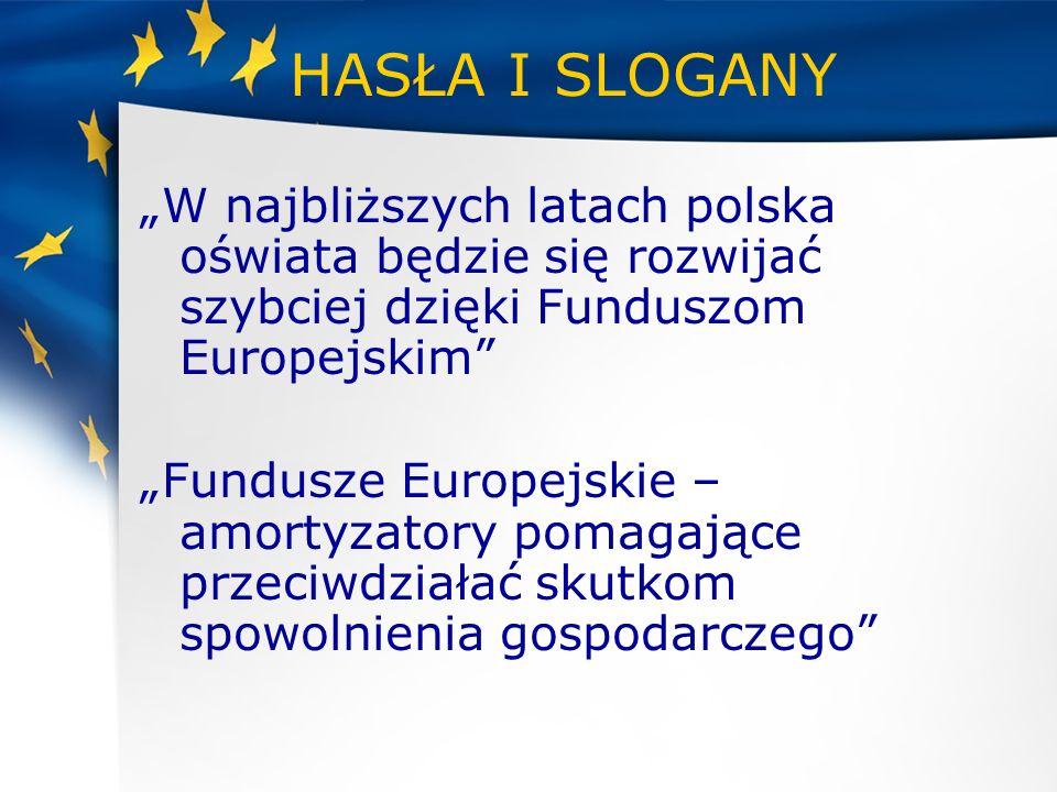 HASŁA I SLOGANY W najbliższych latach polska oświata będzie się rozwijać szybciej dzięki Funduszom Europejskim Fundusze Europejskie – amortyzatory pom
