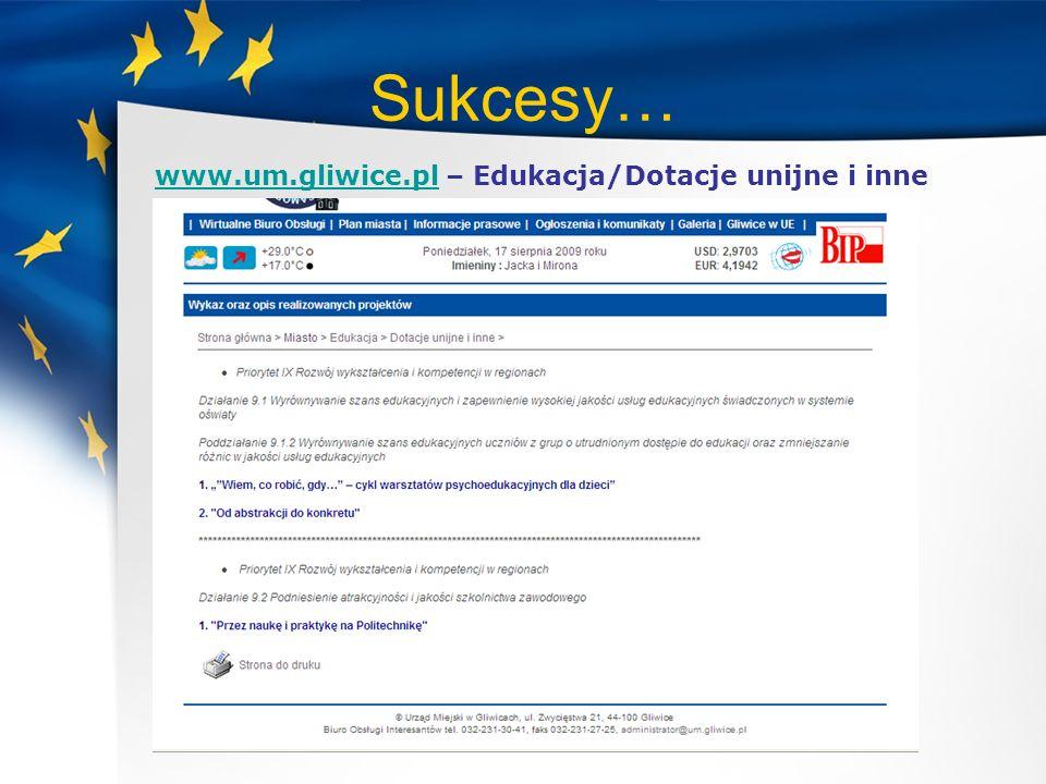 Sukcesy… www.um.gliwice.plwww.um.gliwice.pl – Edukacja/Dotacje unijne i inne