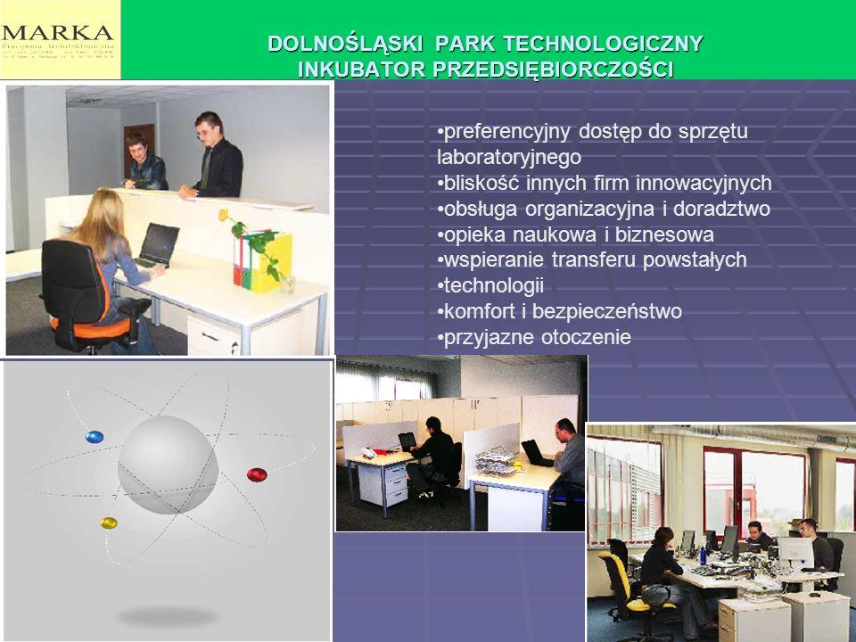 INKUBATOR PRZEDSIĘBIORCZOŚCI preferencyjny dostęp do sprzętu laboratoryjnego bliskość innych firm innowacyjnych obsługa organizacyjna i doradztwo opie