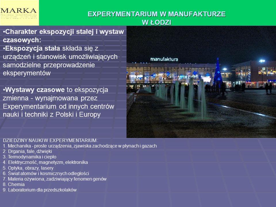 EXPERYMENTARIUM W MANUFAKTURZE W ŁODZI Charakter ekspozycji stałej i wystaw czasowych: Ekspozycja stała składa się z urządzeń i stanowisk umożliwiając