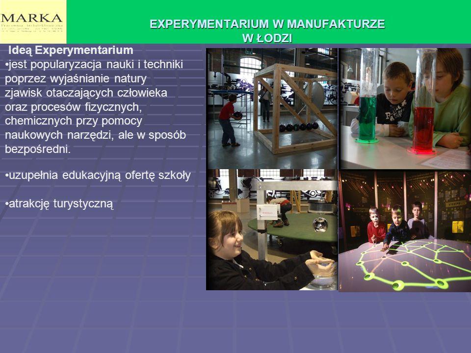 EXPERYMENTARIUM W MANUFAKTURZE W ŁODZI Ideą Experymentarium jest popularyzacja nauki i techniki poprzez wyjaśnianie natury zjawisk otaczających człowieka oraz procesów fizycznych, chemicznych przy pomocy naukowych narzędzi, ale w sposób bezpośredni.