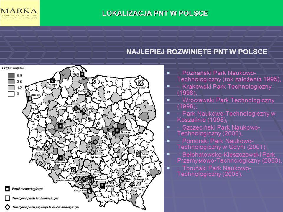 LOKALIZACJA PNT W POLSCE · Poznański Park Naukowo- Technologiczny (rok założenia 1995), · Krakowski Park Technologiczny (1998), · Wrocławski Park Tech
